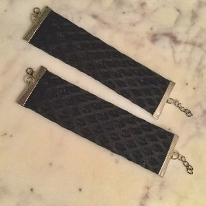 new set of 2 black fishnet cuff bracelets